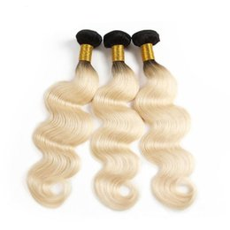 Chinese  Grade 10A Brazilian Human Hair Body Wave Virgin Hair #1b #613 Omber Blond Color Human Hair Bundles Extension manufacturers