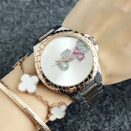 Discount colorful watch bands - Fashion Brand women's Girl Colorful crystal style dial steel metal band quartz watch GS10