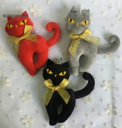 kawaii cat plush 2019 - Kawaii 3Colors - 14CM NEW Silver Ribbon Cat Plush Stuffed TOY DOLL , Key chain CAT Plush Toy , Wedding Gift discount kaw