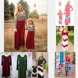 New mother daughter matchiNg dresses online shopping - Family matching clothing Mother and daughter stripe Beach dress Long sleeves Princess dress new Mother s Day clothes styles C3622