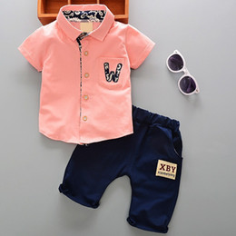 Clothing single pieCes online shopping - 2018 Summer Hot Toddler Kids Cool Baby Boy Single breasted Printing Short Sleeve Shirt Tops Pants Outfits Clothing Set