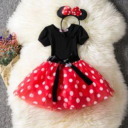 cute pc mouse 2019 - Newborn Baby Cute Cartoon Dress Kids Polka Dots Dresses Infantil Vestidos Summer Mouse Clothes 3 Pcs Birthday Clothing B