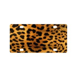 "decorative plate holders UK - Sturdy and Beautiful License Plate Holders Fur Leopard Print for Cars Decorative Front Plate 6"" X 13"""
