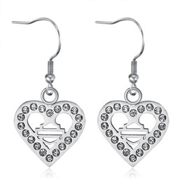 2pairs lot new arrival clean crystal biker style earrings 316L stainless steel fashion jewelry unisex motorbiker love heart earrings on Sale