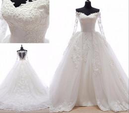 $enCountryForm.capitalKeyWord NZ - Gorgeous Ball Gown Wedding Dress Lace V neck Detachable Train Illusion Long Sleeves Applique Court Train Plus size Bridal Wedding Gowns