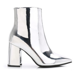 Motorcycle Hair UK - Sexy High heel trendsetter booties for women Short boots female hair thick with Leather material for shoe Tidal wave metal sense