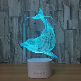 Wholesale 5 RGB Lights USB Charging Bluetooth Speaker TF Card 3D DOLPHIN LED Lamp night light from knuckle self defense manufacturers