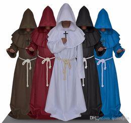 Blue Cotton Cloak Australia - Halloween Comic Con Party Cosplay Costume Monk Hooded Robes Cloak Cape Friar Medieval Renaissance Priest Men For Men