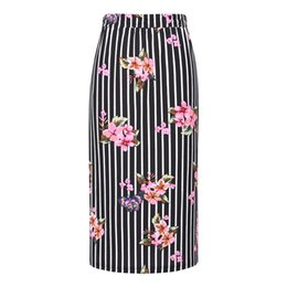 296323179e Women Casual Midi Striped BlackSkirt Office Lady Vintage High Waist Floral  Print Casual Black Skirt Women's Party Skirts Talever