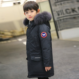 77a9f949b59 Kids Parkas 2018 Boys Down Jackets Thicken Real Fur Hooded Coat Teenage Boys  10 12 14 16 years Warmly Children Winter Outerwear