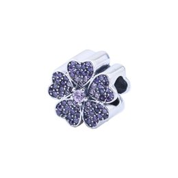 authentic flowers Australia - Apple Blossom Charms Beads Authentic 925 Sterling-Silver-Jewelry Purple Crystal Flower Bead DIY Brand Charm Bracelets Accessories HB189