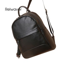 Relwaver big genuine leather backpack brief soft thin pattern cow leather  school bags men women black laptop travel backpack 67834e8de022d