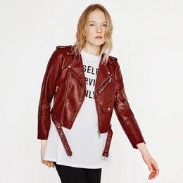 ladies pink motorcycle jackets 2019 - Slim Women PU Coat Faux Leather Fall Winter Female Crop Jacket Black Motorcycle Lady Out Wear discount ladies pink motor