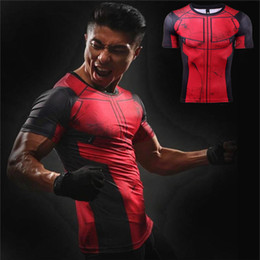 Cosplay Characters NZ - Marvel Heroes Deadpool Character T-Shirt Men Sports T-Shirts GYM Tees 3D Print MMA Compressed Cosplay Short Sleeve Crossfit Tops