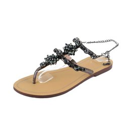 e3b9acb06ed547 Black Silver Gold Fashion Women Sandals Women Shoes Rhinestones Chains Thong  Gladiator Flat Flip Flop Sandals Plus Size 34-47