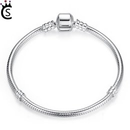 Sterling Silver pandora Style braceletS online shopping - Christmas SALE Authentic Sterling Silver Snake Chain Bangle Bracelet Luxury Jewelry Pandora style CM
