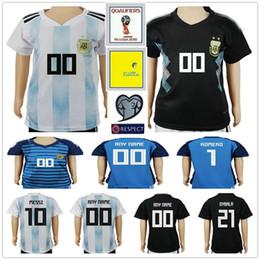 f92991438bf 2018 World Cup Kids Argentina Soccer Jerseys 10 MESSI MARADONA 20 KUN  AGUERO 21 DYBALA 6 BIGLIA ICARDI Custom Youth Boys Football Shirts
