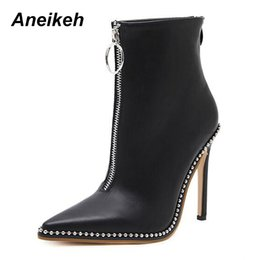 China Elegant Brand Design Ankle Boots Pointed Toe High Heels Shoes Women 2018 Fashion Rivets Diamond Wedding Autumn Boots supplier winter elegant shoes suppliers