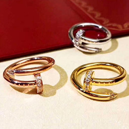 Fine men online shopping - Stainless Steel Gold Nail rings with diamonds Top Quality silver rose gold lovers Band Rings for Women and Men Couple rings fine jewelry