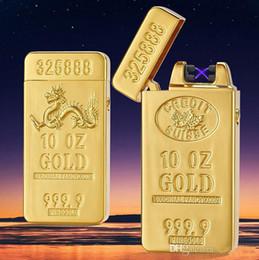 2017 barra de ouro de luxo design mais leve de carregamento USB duplo arco de pulso cruz ligthers Metal cigarro eletrônico mais leve c130