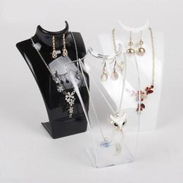 $enCountryForm.capitalKeyWord NZ - TONVIC 2 Elegant Black White Clear Plastic Jewellery Set Display Earring Necklace Storage Stand Holder