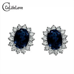 silver evening earrings 2019 - Classic genuine black sapphire earrings 925 Sterling Silver earring for woman anniversary gift evening party earrings si