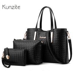 sac main marque femme 2019 - Kunzite Brand Women's Luxury Composite Shoulder Bags Ladies Handbags Clutches Bags Set 3 High Quality Sac A Main Fe