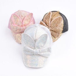 baby kids rabbit ear hat 2019 - Baby Summer Hat Bling Sequins Baby Hats Rabbit Ear Bowknot Baseball Caps For Girls Mesh Sun Cap Kids Accessories discoun