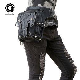 $enCountryForm.capitalKeyWord Australia - Steampunk Waist Bag Womens Leather Leg Bag Men Gothic Punk Bags Handbag Retro Rock Vintage Mobile Phone Mini Packs Hot Sale