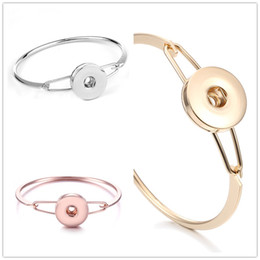Rose Gold Snap Buttons NZ - Noosa Simple Snap Button Bangle Bracelet DIY 18mm Ginger Snap Button Charms Jewelry Gift silver gold rose