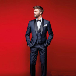navy blue tuxedos for cheap Australia - Classy Navy Blue Wedding Tuxedos Slim Fit Suits For Men Groomsmen Suit Three Pieces Cheap Prom Formal Suits (Jacket +Pants+Vest)