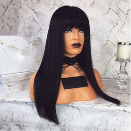 straight bangs wig Australia - Straight Lace Front Wig Peruvian Virgin Hair Full Bangs Wig Human Hair Glueless Full Lace Wig With Bangs Bleached Knots For Black Women