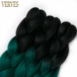 Chinese  Black Emerald raiding Hair ombre Two Tone High Temperature Fiber expression braiding hair 100g piece synthetic braiding hair Extensions manufacturers