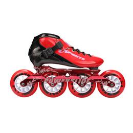 Ingrosso Speed Inline Skates Pattini da competizione professionali in fibra di carbonio 4 * 100 / 110mm 4 ruote Pattinaggio da corsa Patine Powerslide simile