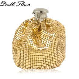 China Double Flower Shiny Metallic Aluminum Women's Fashion Gold Mini Coin Purse Evening Clutch Bag Chain Shoulder Handbags supplier shiny aluminum suppliers
