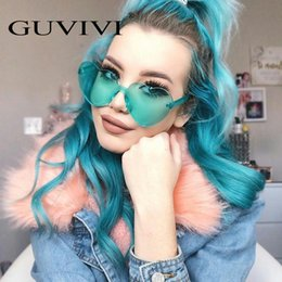 Mirror Tint Sunglasses NZ - Love Heart Shape Sunglasses Women 2018 Rimless Frame Tint Clear Lens Colorful Sun Glasses Red Pink Yellow Shades