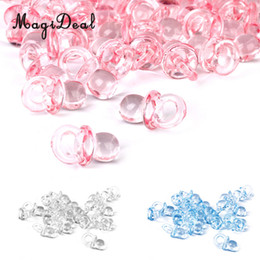 Discount pacifier charms MagiDeal 50pcs Lot Cute Mini Pacifier Charms Girl Boy Baby Shower Party Favor Nappy Cake Decor Pink