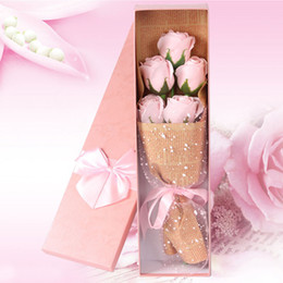 $enCountryForm.capitalKeyWord NZ - 5pcs   box Rose flower shaped soap bouquet Artificial flowers roses Soap flower Gift box Mother 's Day gift birthday gift