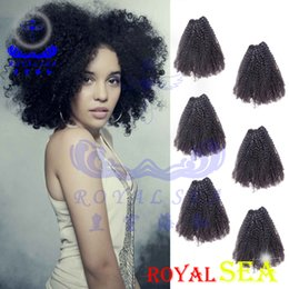 Discount indian remy afro kinky hair weave - Mongolian Afro Kinky Curly Hair Extension Weave Human Hair Bundles 6pcs Natural Color Remy Hair Royal Sea