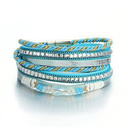 Wholesale Europe and America multi layer leather woven full drill Bracelet Fashion insert magnet magnet clasp string
