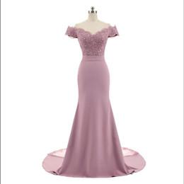 Ingrosso Nuovo arrivo rosa scollo av manica a palloncino vintage appliques di pizzo in rilievo sirena abiti da damigella d'onore abiti da festa vestido de festa