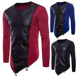 Wholesale long sleeve leather sweatshirt men for sale – custom New Brand Sweatshirts Men Fashion Shirt Irregular Zipper Design Long Sleeves Hip Hop T Shirts Panelled Leather Top Tees Shirts
