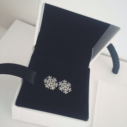 studs boxed Australia - Women's Cute Jewelry 925 Sterling Silver snowflake Stud Earring Original box for Pandora Real Silver Earrings Christmas Gift