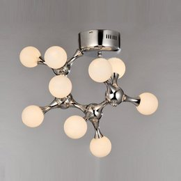 art dna switch NZ - Modern Simple Glass DNA Art Ceiling Lamp Nordic Molecule Bedroom Ceiling Lights Machine Dog Living Room Ceiling Lighting Fixtures