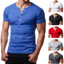 b07b5c0d6165 Henley T Shirt Men 2018 Summer Fashion V Neck Short Sleeve Tee Shirt Homme  Casual Slim Fit Metal Button Design Mens T-shirts XXL