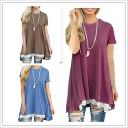 lace splice t shirt Canada - 2018 Brand New Summer TOP Short sleeve round collar spliced lace T-shirt 8colors and 5sizes