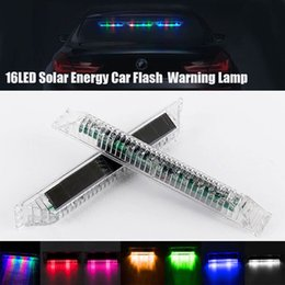 $enCountryForm.capitalKeyWord Australia - 16 LEDs Solar Colorful Car Dash Strobe Light Flash Emergency Police Warning Lamp 7 different colors