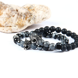 Hot Sale 1PCS Stainless Steel Jewelry 8mm Mix Colors Natural Stone Beads With Wolf Helmet Spartan And Fatima Hand Hamsa Bracelets on Sale
