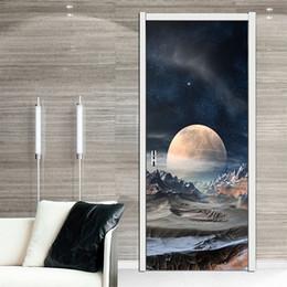 $enCountryForm.capitalKeyWord NZ - 3D View Art Planet Star Scenery Creative Personalized Door Sticker Bedroom Living Room Corridor PVC Living Room Waterproof Door Decorative
