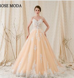 9ad35d33229 Rose Moda Gorgeous Alencon Lace Wedding Ball Gown 2018 Champagne Wedding  Dress with Ivory Laces Real Photos